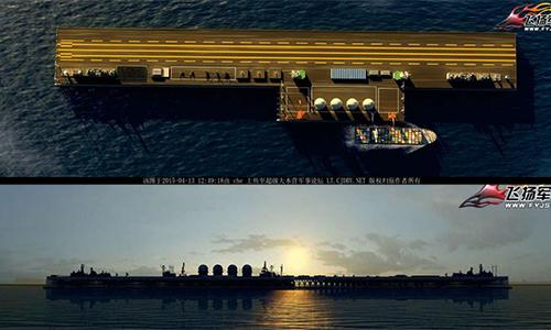 Trung Quốc xây đảo nổi di động trên Biển Đông | Hình ảnh minh họa trên máy tính về một đảo nổi mà Trung Quốc dự kiến xây dựng. Ảnh: popsci