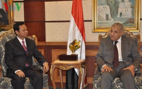 Tổng thanh tra Chính phủ (trái) tiếp kiến Thủ tướng Ai Cập