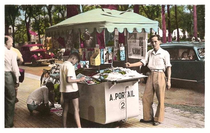 Một quầy báo của Sài Gòn, thời trước năm 1975. Nguồn: Trên mạng