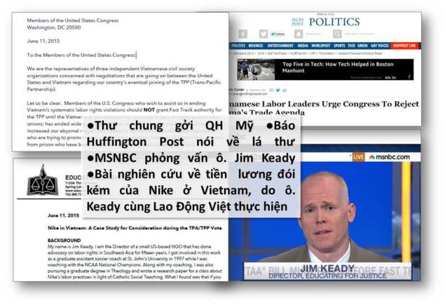 Lao Động Việt lên tiếng với Quốc Hội Mỹ về TPP