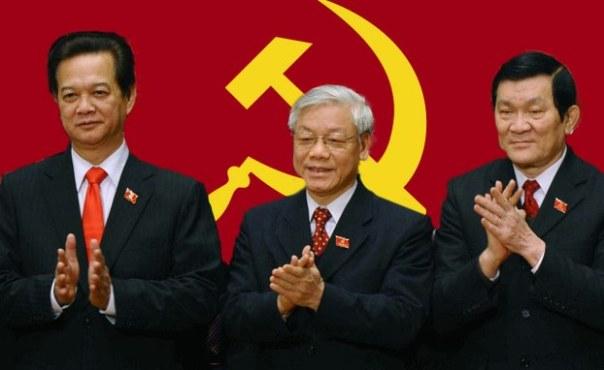 Các lãnh đạo ĐCSVN: ông Nguyễn Tấn Dũng, ông Nguyễn Phú Trong, và ông Trương Tấn Sang