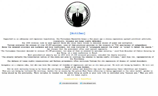 Thông điệp do nhóm AntiSec để lại sau khi tấn công vào trang web của nhà cầm quyền Việt Nam