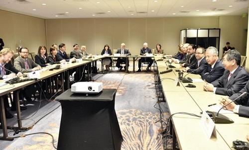 Đại diện các nước đàm phán TPP tại Atlanta. Ảnh: Japan News