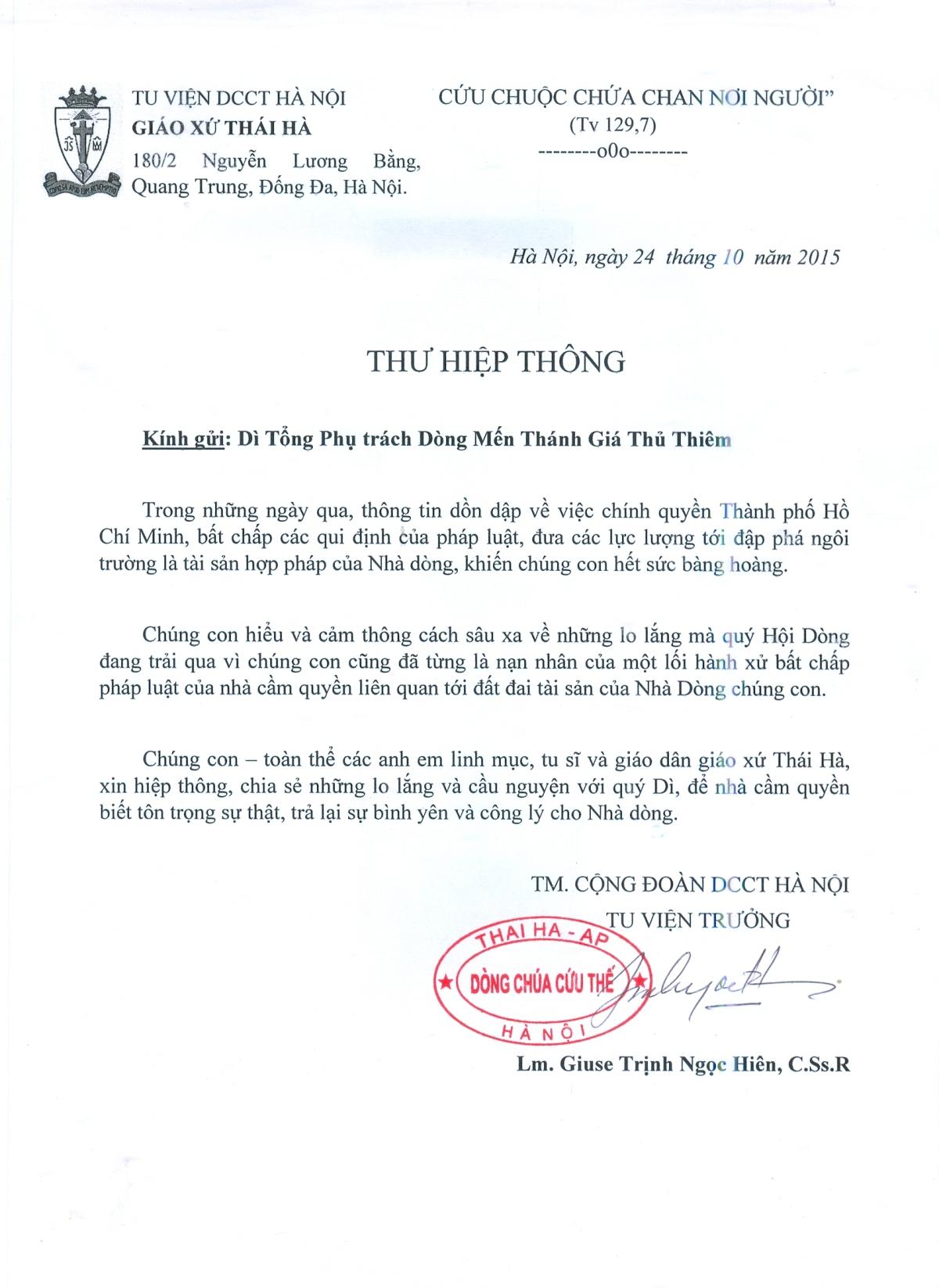 Giáo xứ Thái Hà gửi Thư Hiệp Thông tới Quý Dì Dòng Mến Thánh Giá Thủ Thiêm