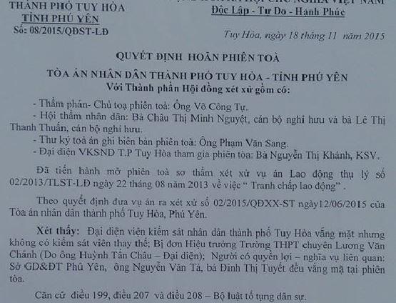 Quyết định hoãn phiên tòa của Tòa án Nhân dân TP Tuy Hòa (Phú Yên)