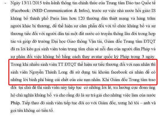 """Sinh viên Nguyễn Thành Long """"phỉ báng cái chết của các nạn nhân""""?"""