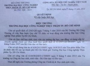 Quyết định buộc thôi học Nguyễn Phương Uyên của Hiệu trưởng trường DDHCNTP TP. HCM