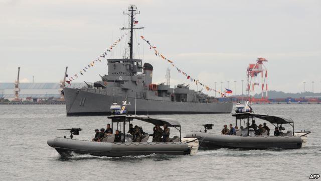 Lực lượng đặc nhiệm của Hải quân Philippines tuần tra ngoài khơi Vịnh Subic, hướng ra Biển Đông (Ảnh tư liệu).