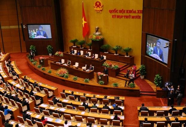Chủ tịch Trung Quốc Tập Cận Bình phát biểu tại Tòa nhà Quốc hội ở Hà Nội vào ngày 06 tháng 11 năm 2015, nơi diễn ra các cuộc hội nghị trung ương hàng năm.