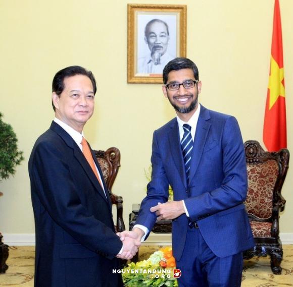 Thủ tướng tiếp Tổng Giám đốc điều hành Tập đoàn Google. Ảnh: VGP.