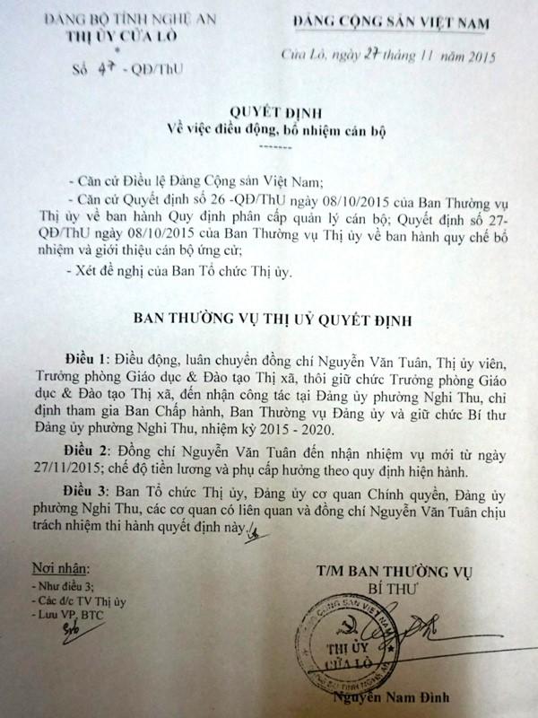 Thị ủy Cửa Lò ra Quyết định điều chuyển chức danh do Chủ tịch UBND TX bổ nhiệm?