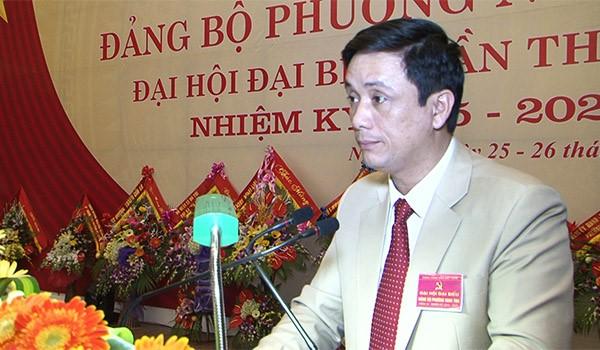 Ông Phùng Đức Nhân tại Đại hội Đảng bộ phường Nghi Thu tháng 3.2015 (ảnh: Cualo.vn)
