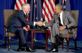 Thủ tướng Úc Malcolm Turnbull và Tổng thống Hoa Kỳ Barack Obama gặp nhau tại Manila hôm 17.11.2015, trước thềm Thượng đỉnh APEC.Thủ tướng Úc Malcolm Turnbull và Tổng thống Hoa Kỳ Barack Obama gặp nhau tại Manila hôm 17.11.2015, trước thềm Thượng đỉnh APEC.