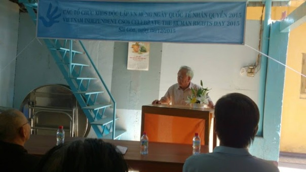 Bác sỹ Nguyễn Đan Quế, đại diện hội Cựu Tù nhân lương tâm đã có bài phát biểu tâm huyết tại buổi gặp mặt.