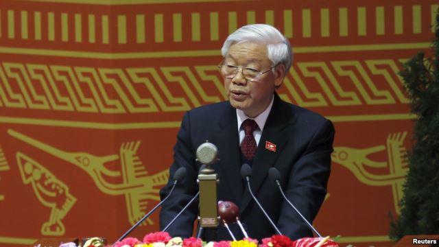 Ông Nguyễn Phú Trọng, Tổng Bí thư Đảng Cộng sản Việt Nam, đọc diễn văn trong lễ khai mạc Đại hội đảng 12 tại Hà Nội, ngày 21/1/2016.