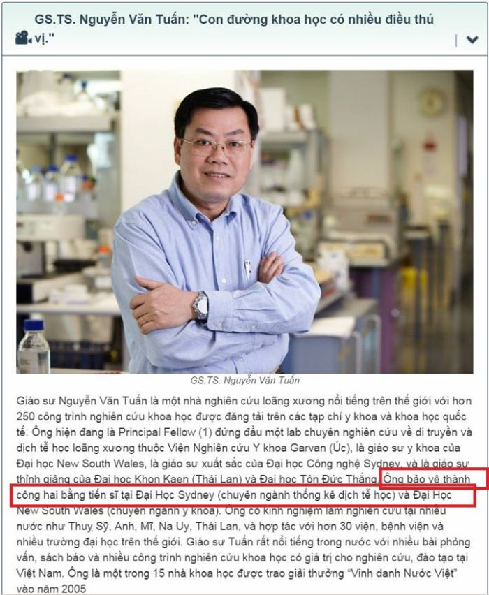 Nguyễn Văn Tuấn là giáo sư giả.