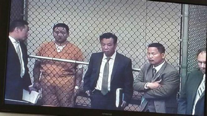 Diễn viên Minh Béo tại nhà tù ở Santa Ana hôm thứ Sáu 15/4