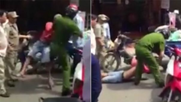 Cảnh công an Lương Việt Hà quật ngã người bán hàng rong tên Minh Phong tại chợ Bình Tiên qua một clip trên mạng.
