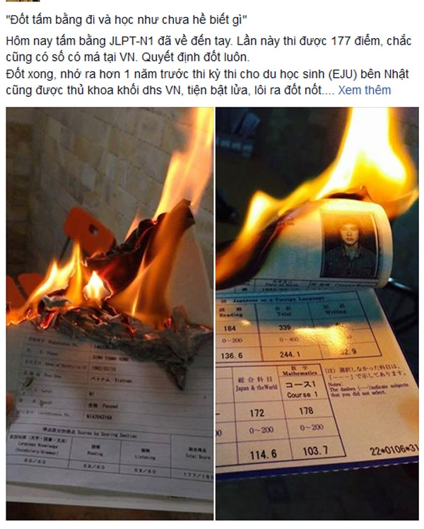 Hồi đầu tháng 3 cũng đã có người đốt bằng du học Nhật (Ảnh chụp màn hình)