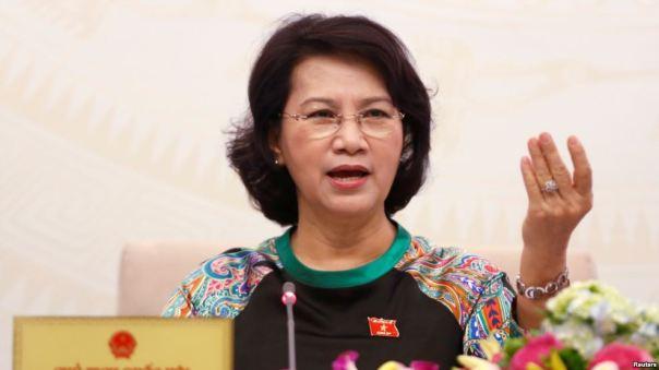 Chủ tịch Quốc hội Việt Nam Nguyễn Thị Kim Ngân trong một cuộc họp báo ở Hà Nội, ngày 23/7/2016.