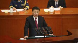 Chủ tịch Trung Quốc phát biểu tại lễ kỷ niệm 95 năm thành lập Đảng Cộng sản Trung Quốc tại Đại lễ đường Nhân dân ở Bắc Kinh, ngày 1/7/2016. Ảnh: AP