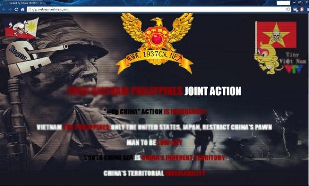 Thông điệp hacker để lại trong vụ tấn công sân bay Nội Bài: Việt Nam và Phillippines không được đụng đến chủ quyền của Trung Quốc.