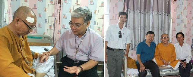Linh mục Vinhsơn Phạm Trung Thành và anh chị em trong các hội đoàn XHDS thăm Hòa thượng Thích Không Tánh tại bệnh viện