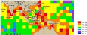 Hình 1: Bản đồ biểu diễn chỉ số Shannon's Index of Biodiversity  năm 2014 (Nguồn UNEP)