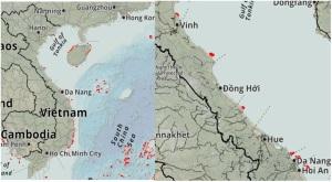 Hình 4: Phân bố của hệ sinh thái san hô ở vùng biển Việt Nam và 4 tỉnh miền Trung năm 2015 (Nguồn: UNEP)