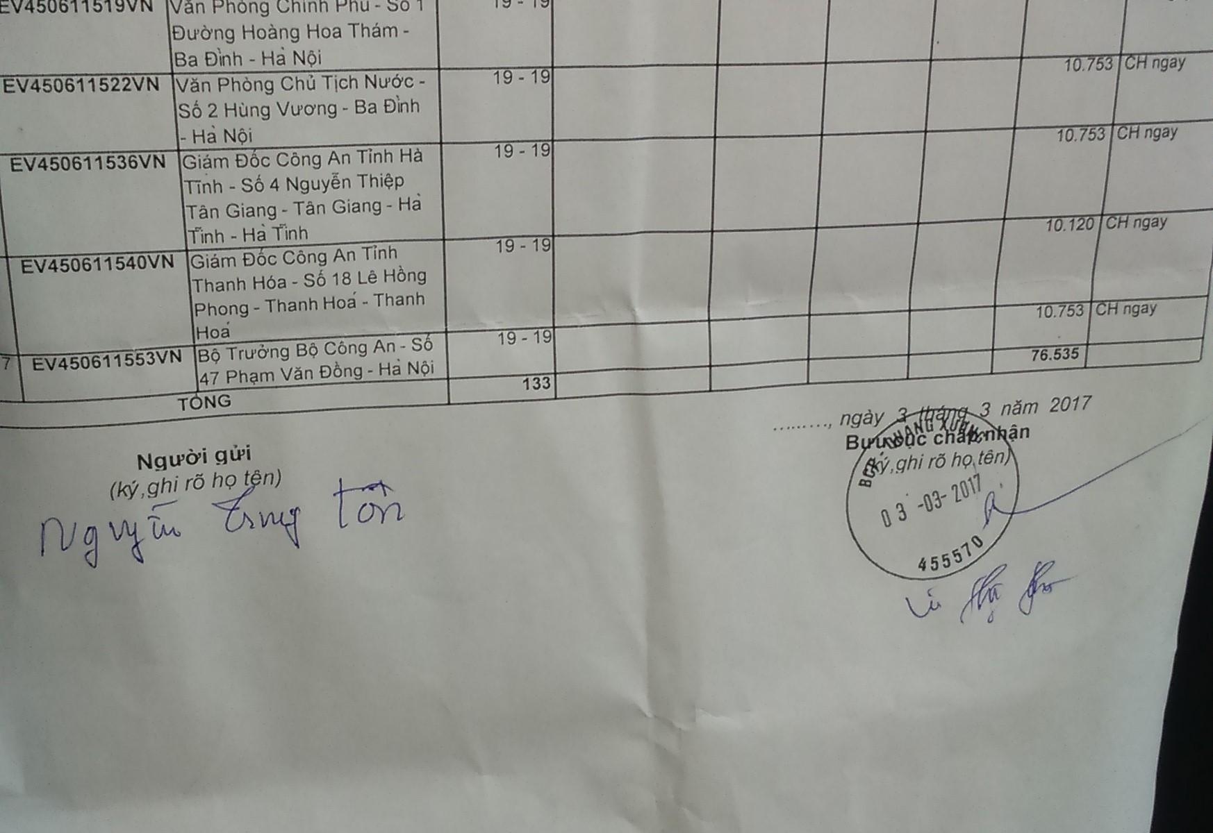 Vận đơn của bưu điện nước CHXHCNVN tiếp nhận đơn trình báo của mục sư Nguyễn Trung Tôn.