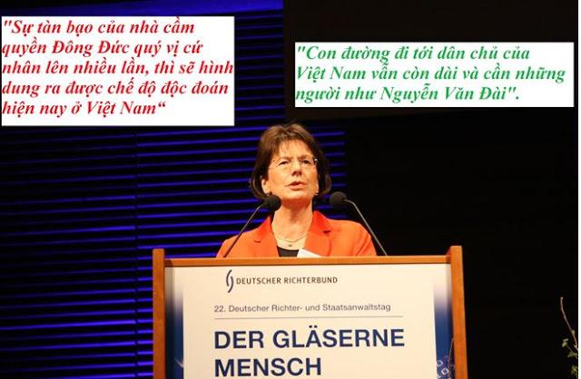 Bà Dân biểu Đức Marie-Luise Dött đọc diễn văn tôn vinh LS Nguyễn Văn Đài