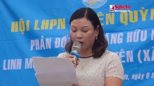 Phạm Thị Hải Yến, chủ tịch hội liên hiệp phụ nữ huyện Quỳnh Lưu bị tố ăn quỵt tiền người biểu tình