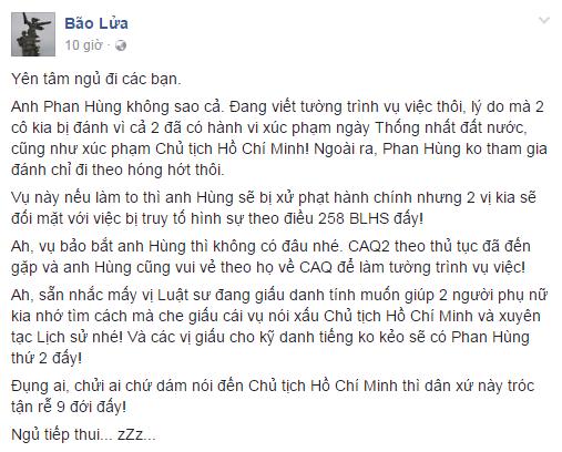 Facebook Bão Lửa, thuộc nhóm thân hữu Phan Hùng - Phạm Luân cam đoan về một hình phạt hành chính dành cho Hùng và Điều 258 dành cho chị Hạnh và bạn chị.