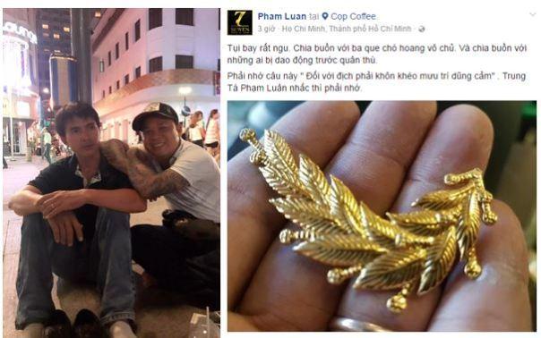 """Bên trái là hình ảnh Phạm Luân, (áo đen) một """"chiến hữu"""" của ông Phan Hùng, luôn đi đầu trong """"chống phản động, ba que"""". Hình bên phải là ve áo sĩ quan mà Luân đăng tải trên Facebook cá nhân."""