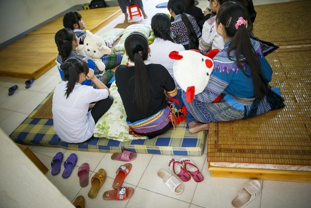 17 cô gái Việt Nam là nạn nhân của nạn buôn người, đang ở tạm tại Trung tâm phục hồi nhân phẩm tỉnh Lào Cai hôm 18/4/2015.
