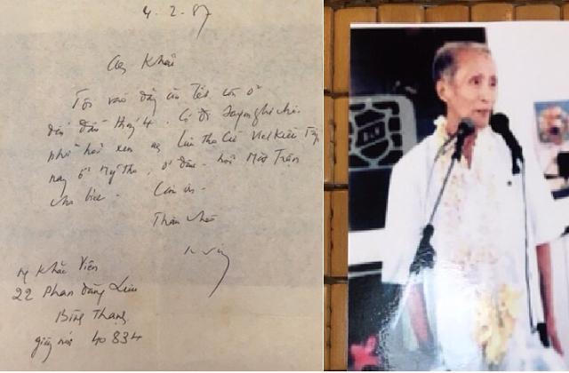 Bên phải là Nguyễn Khắc Viện trong ngày nhận giải thưởng lớn Pháp văn. (12/1992); và Thư bút của Nguyễn Khắc Viện (cuối thư không dùng từ téléphone mà dùng từ giấy nói) - hình trái