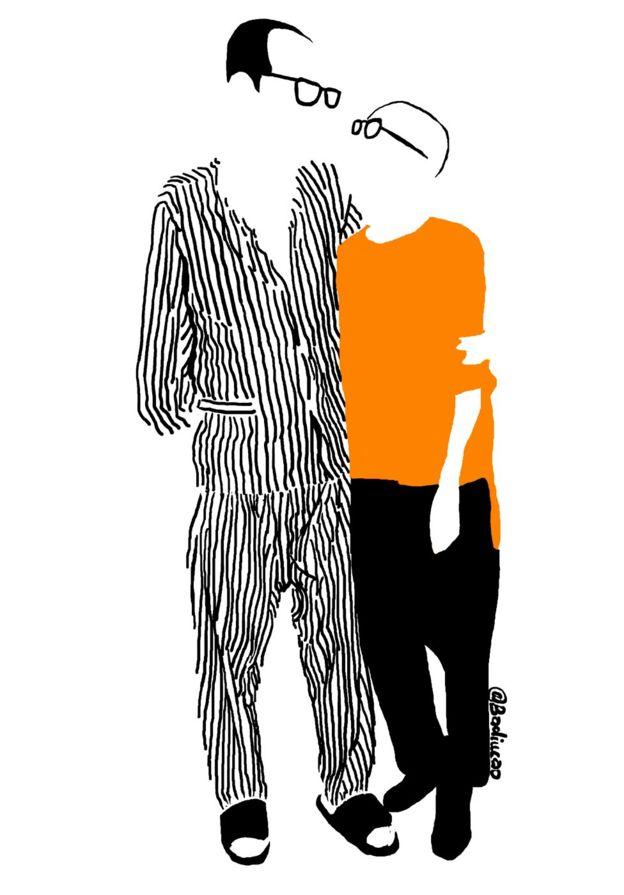 Phác họa vẽ ông Lưu Hiểu Ba và bà Lưu Hà của nghệ sĩ Badiucao