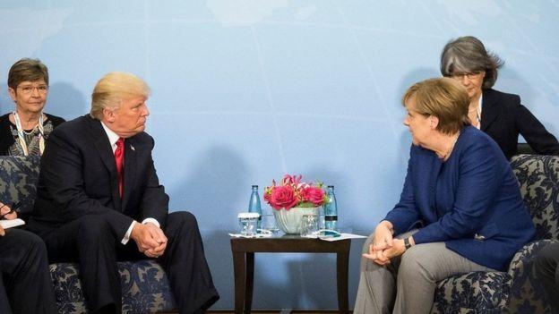 Bà Merkel và ông Trump hội đàm một giờ.