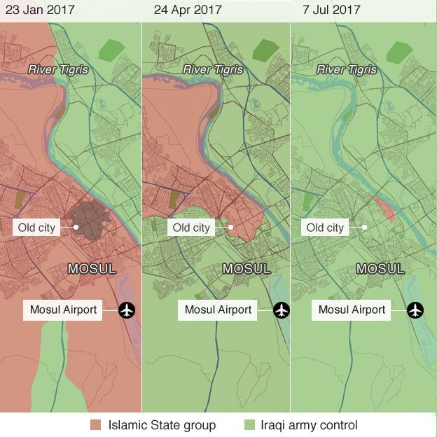 Tiến triển chiến sự tái chiếm Mosul của các lực lượng Iraq.