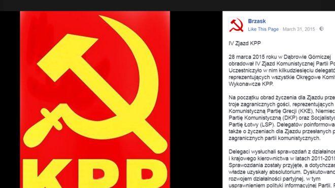 Đảng Cộng sản Ba Lan thế hệ mới ra đời năm 2002 và dùng biểu tượng búa liềm trên trang Facebook của họ