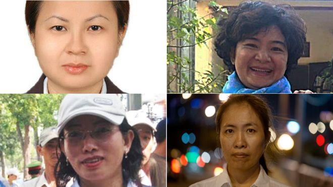 Một số nữ tù nhân lương tâm của Việt Nam. Từ trái quá phải, Lê Thị Công Nhân và Trần Thị Nga (hàng trên); Tạ Phong Tần và Nguyễn Ngọc Như Quỳnh (hàng dưới).
