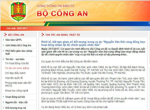 Chính quyền Việt Nam cùng lúc bắt bốn nhà đấu tranh