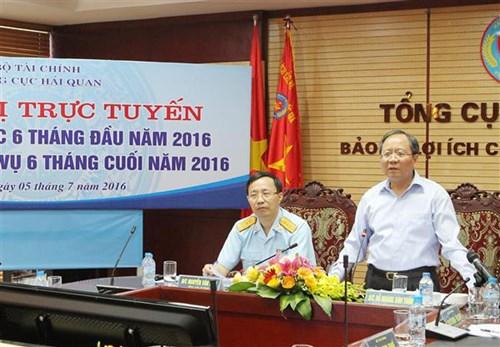 Thứ trưởng Bộ Tài chính Đỗ Hoàng Anh Tuấn đã phát biểu chỉ đạo, đánh giá cao các kết quả ngành Hải quan đạt được của Tổng cục Hải quan, nơi con trai ông đang công tác. Ảnh Báo Hải quan.