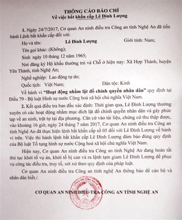 Thông cáo báo chí bắt khẩn cấp ông Lê Đình Lượng. Ảnh: báo Nghệ An